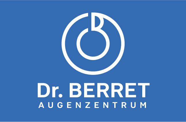 Logo Dr Berret Augenzentrum auf blauem Hintergrund